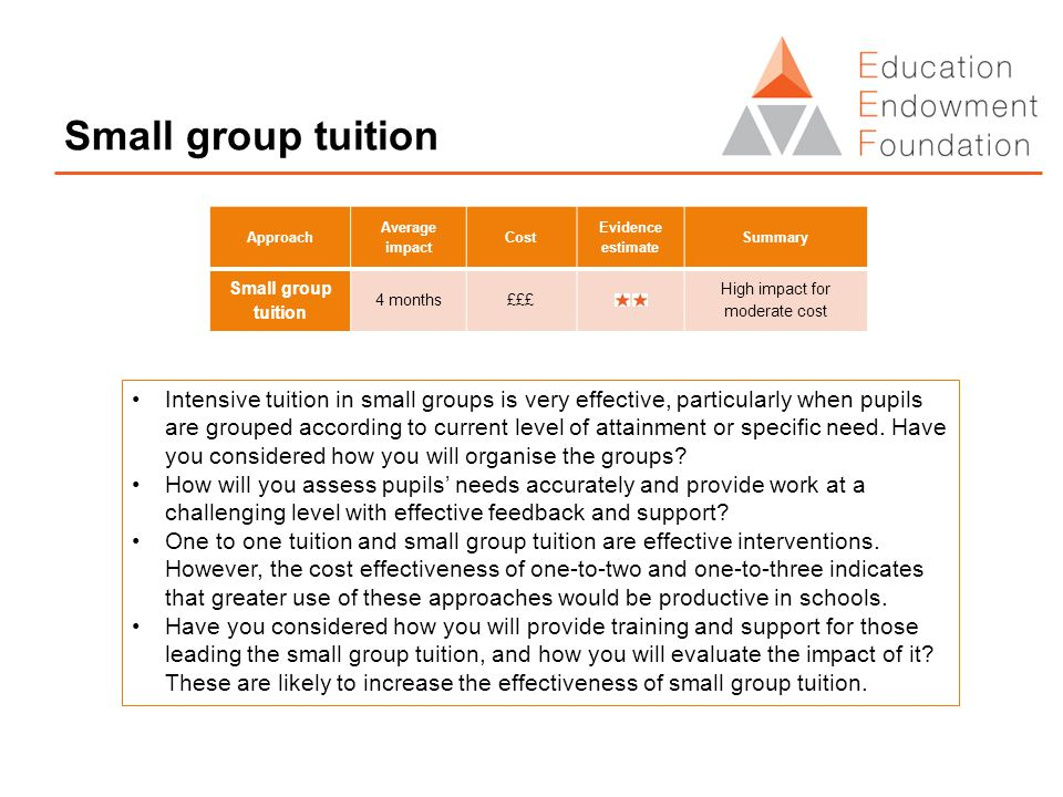 Small group tuition Intensive tuition in small groups is very effective, particularly when pupils are grouped according to current level of attainment