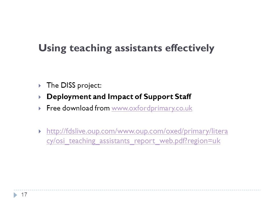 Using teaching assistants effectively  The DISS project:  Deployment and Impact of Support Staff  Free download from www.oxfordprimary.co.ukwww.oxf