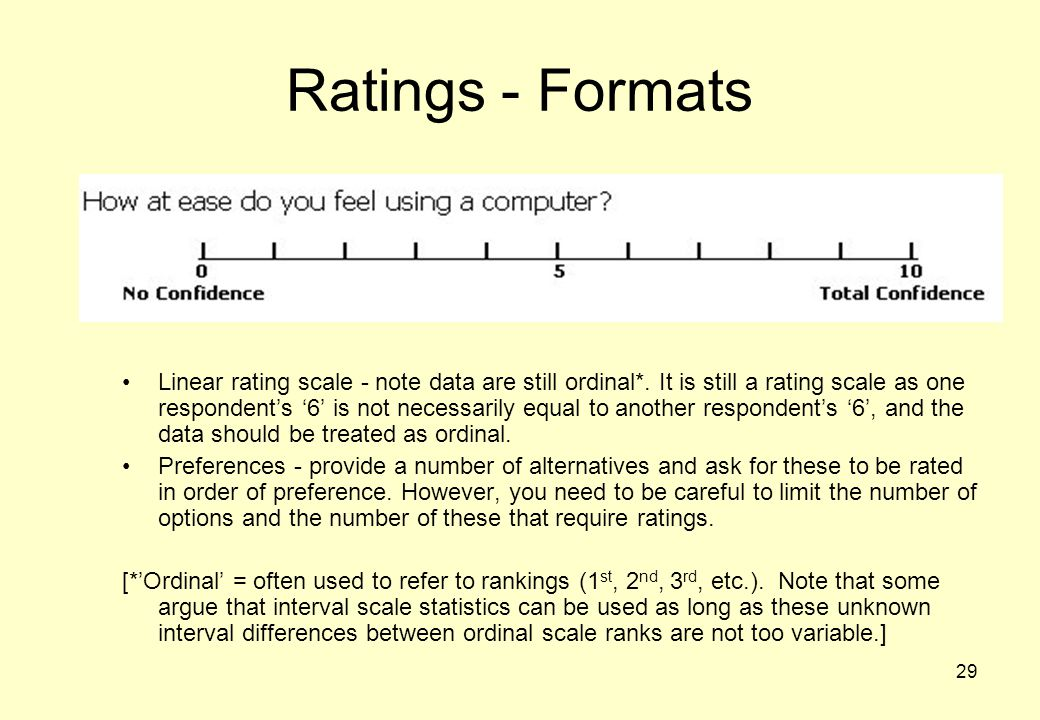 29 Ratings - Formats Linear rating scale - note data are still ordinal*.