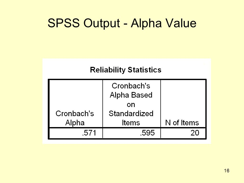 16 SPSS Output - Alpha Value