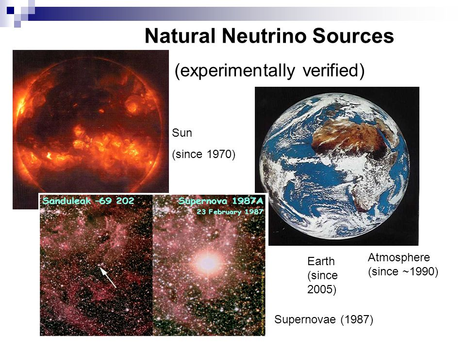 Natural Neutrino Sources (experimentally verified) Sun (since 1970) Earth (since 2005) Supernovae (1987) Atmosphere (since ~1990)