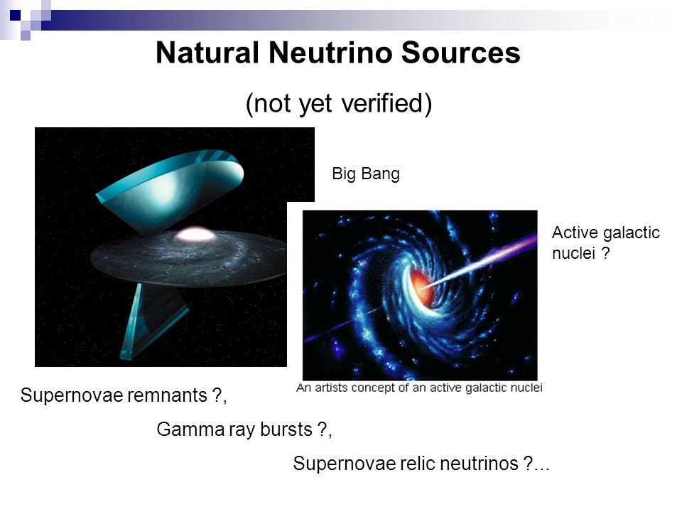 Natural Neutrino Sources (not yet verified) Big Bang Active galactic nuclei .