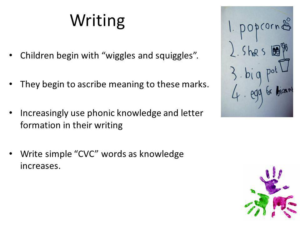 Writing Children begin with wiggles and squiggles .