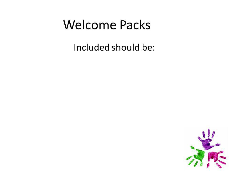 Welcome Packs Included should be: