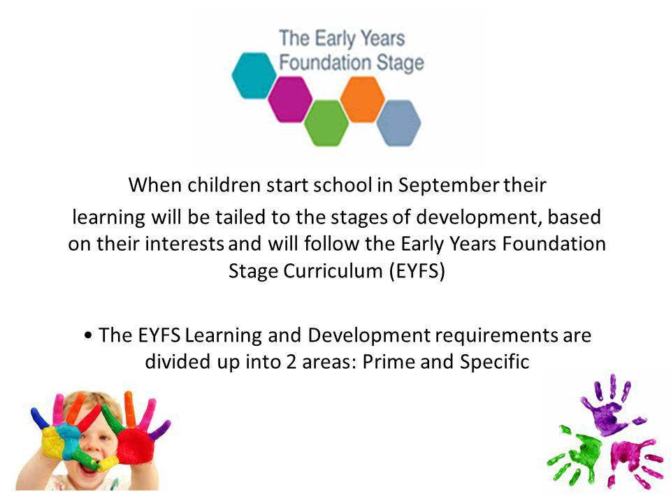 When children start school in September their learning will be tailed to the stages of development, based on their interests and will follow the Early