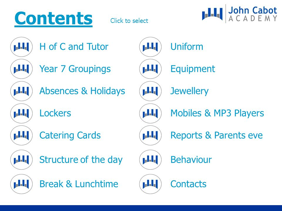 H of C and Tutor Year 7 Groupings Absences & Holidays Lockers Catering Cards Structure of the day Break & Lunchtime Uniform Equipment Jewellery Mobiles & MP3 Players Reports & Parents eve Behaviour Contacts Contents Click to select