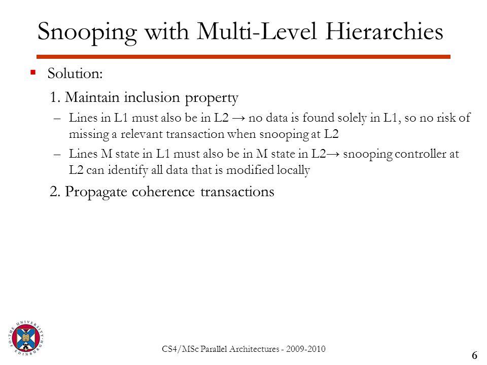 CS4/MSc Parallel Architectures - 2009-2010  Solution: 1.