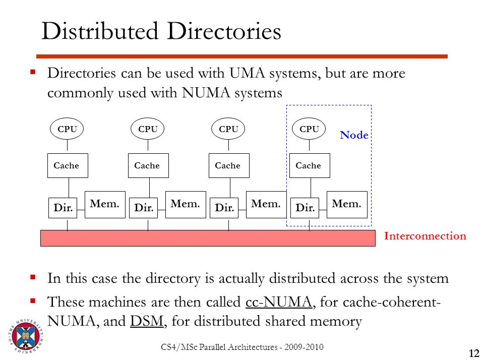 CS4/MSc Parallel Architectures - 2009-2010 Distributed Directories  Directories can be used with UMA systems, but are more commonly used with NUMA systems  In this case the directory is actually distributed across the system  These machines are then called cc-NUMA, for cache-coherent- NUMA, and DSM, for distributed shared memory 12 Interconnection CPU Cache Mem.