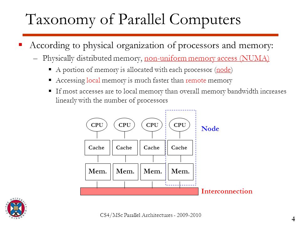 CS4/MSc Parallel Architectures - 2009-2010 Taxonomy of Parallel Computers  According to physical organization of processors and memory: –Physically distributed memory, non-uniform memory access (NUMA)  A portion of memory is allocated with each processor (node)  Accessing local memory is much faster than remote memory  If most accesses are to local memory than overall memory bandwidth increases linearly with the number of processors 4 Interconnection CPU Mem.