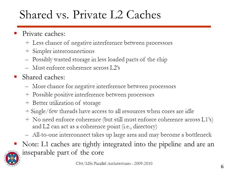 CS4/MSc Parallel Architectures - 2009-2010 Shared vs.