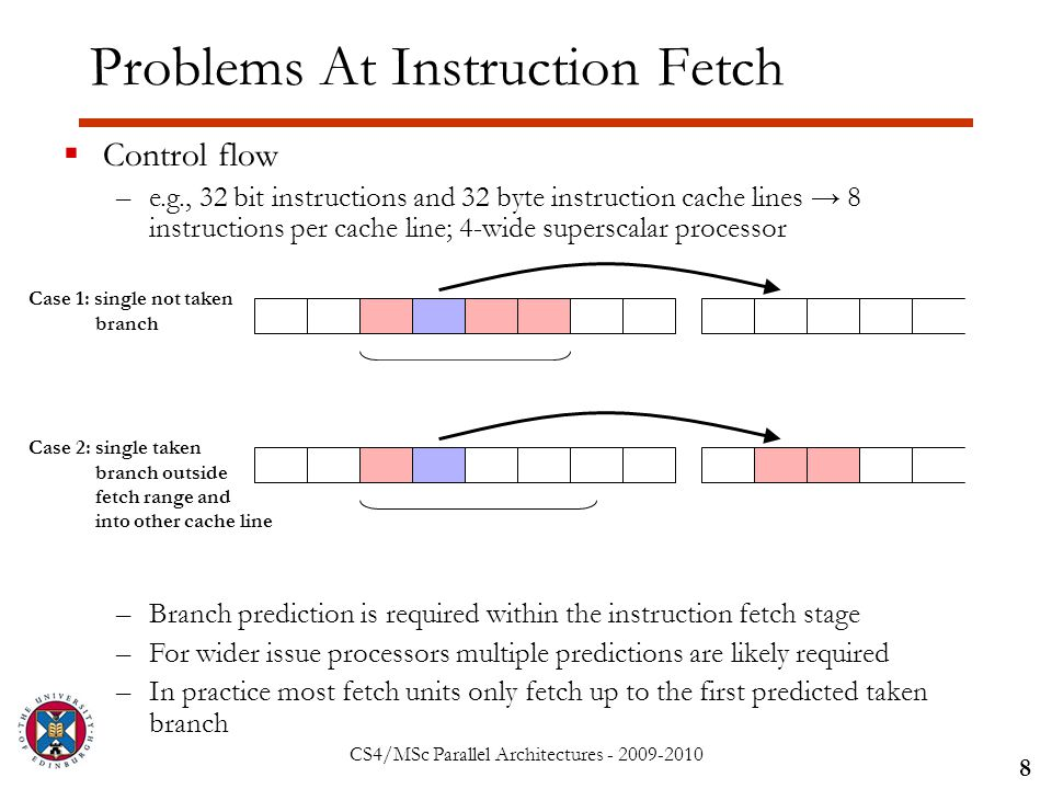 CS4/MSc Parallel Architectures - 2009-2010 Problems At Instruction Fetch 8  Control flow –e.g., 32 bit instructions and 32 byte instruction cache lines → 8 instructions per cache line; 4-wide superscalar processor –Branch prediction is required within the instruction fetch stage –For wider issue processors multiple predictions are likely required –In practice most fetch units only fetch up to the first predicted taken branch Case 1: single not taken branch Case 2: single taken branch outside fetch range and into other cache line