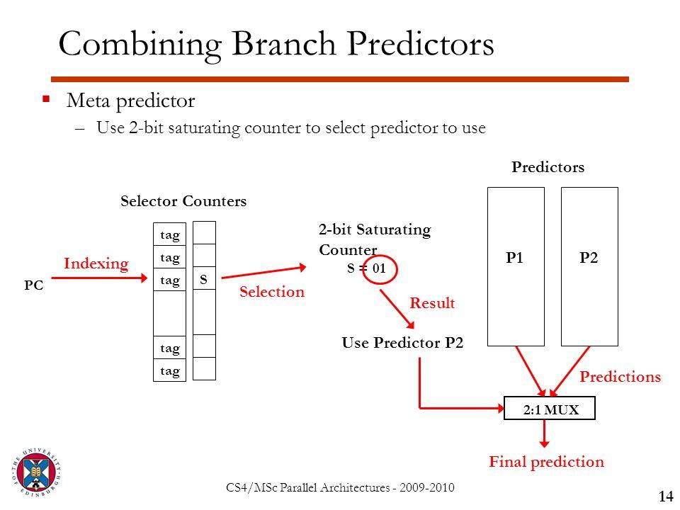 CS4/MSc Parallel Architectures - 2009-2010 Combining Branch Predictors 14  Meta predictor –Use 2-bit saturating counter to select predictor to use Selector Counters S tag PC Indexing 2-bit Saturating Counter S = 01 Use Predictor P2 Selection Result P1P2 Predictors 2:1 MUX Predictions Final prediction