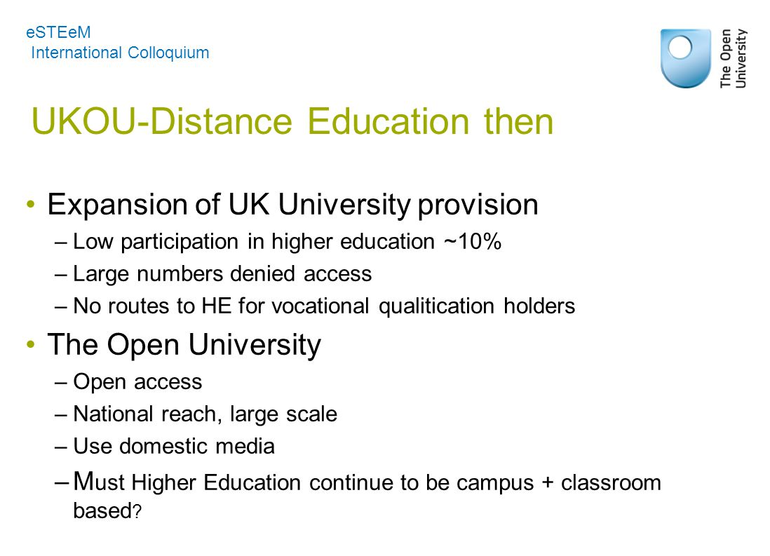 UKOU-Distance Education then Expansion of UK University provision –Low participation in higher education ~10% –Large numbers denied access –No routes