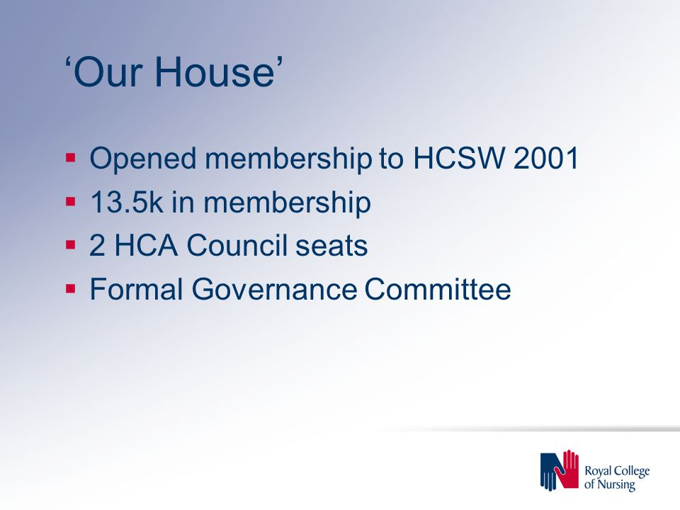 'Our House'  Opened membership to HCSW 2001  13.5k in membership  2 HCA Council seats  Formal Governance Committee
