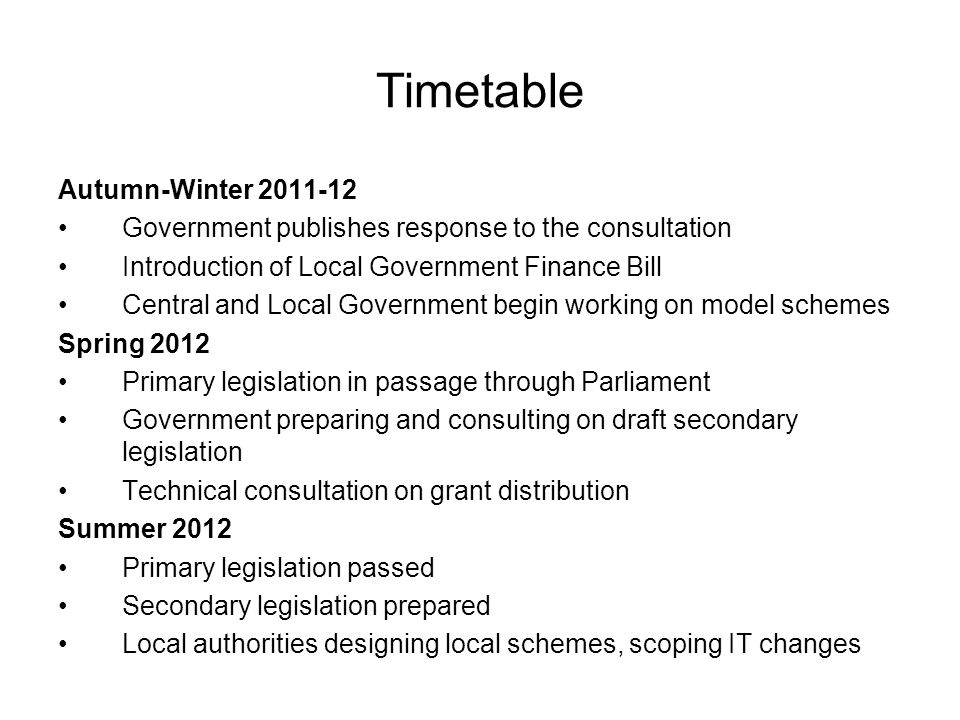 Timetable Autumn-Winter 2011-12 Government publishes response to the consultation Introduction of Local Government Finance Bill Central and Local Gove