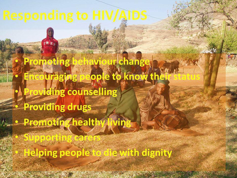 Responding to HIV/AIDS Promoting behaviour change Encouraging people to know their status Providing counselling Providing drugs Promoting healthy livi