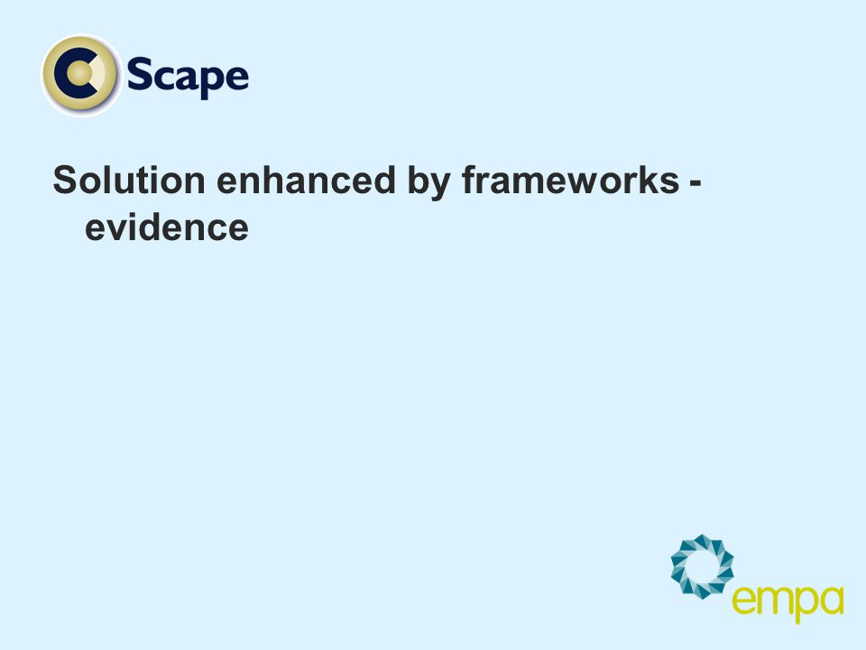 Solution enhanced by frameworks - evidence