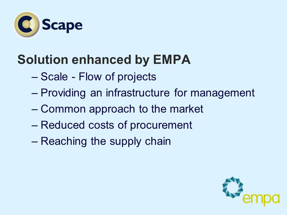Solution enhanced by EMPA –Scale - Flow of projects –Providing an infrastructure for management –Common approach to the market –Reduced costs of procu