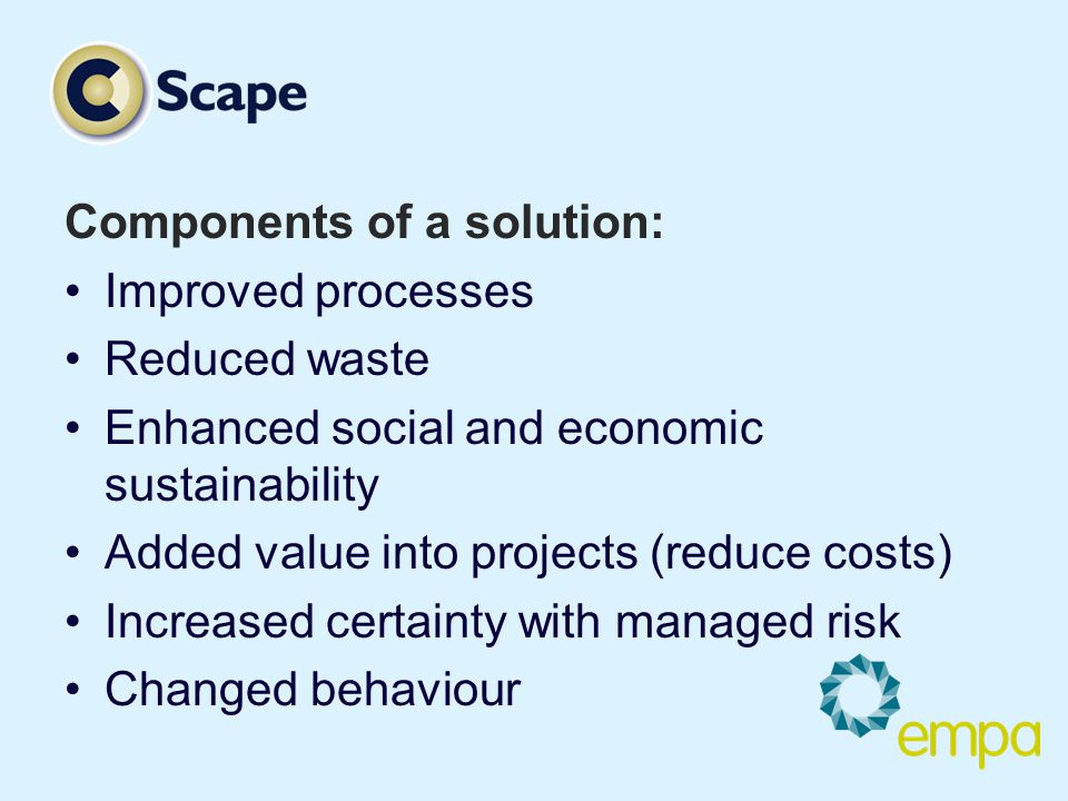Components of a solution: Improved processes Reduced waste Enhanced social and economic sustainability Added value into projects (reduce costs) Increased certainty with managed risk Changed behaviour