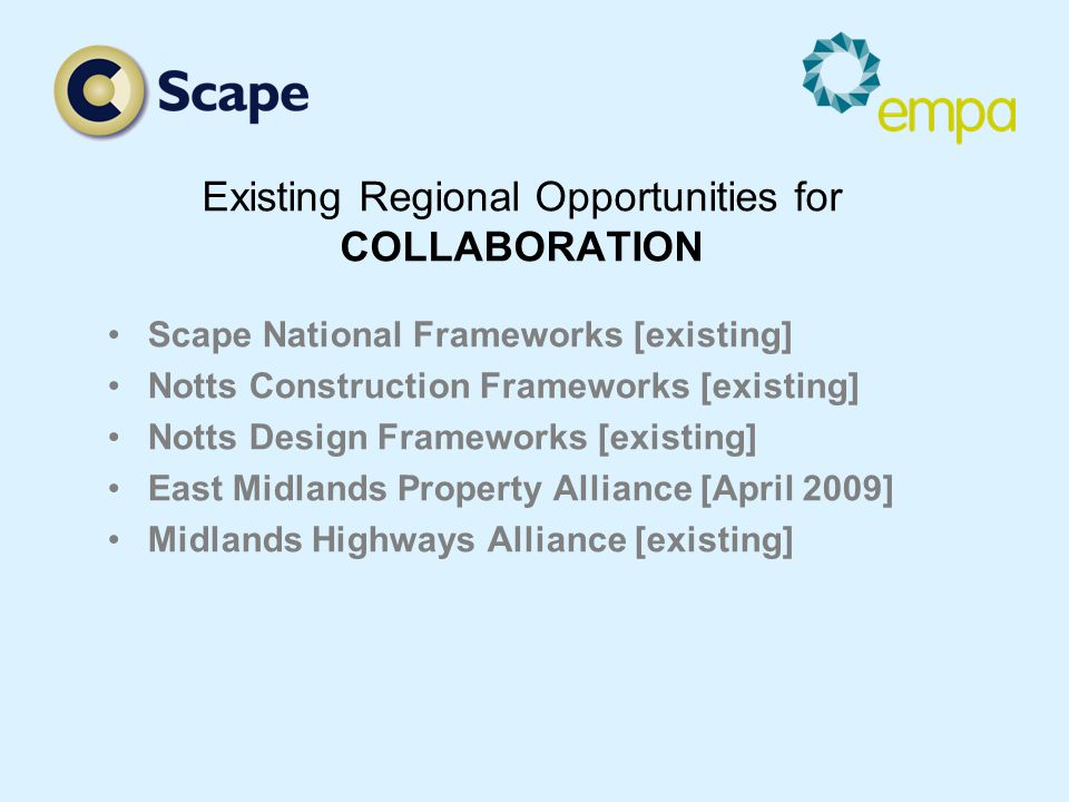 Existing Regional Opportunities for COLLABORATION Scape National Frameworks [existing] Notts Construction Frameworks [existing] Notts Design Frameworks [existing] East Midlands Property Alliance [April 2009] Midlands Highways Alliance [existing]