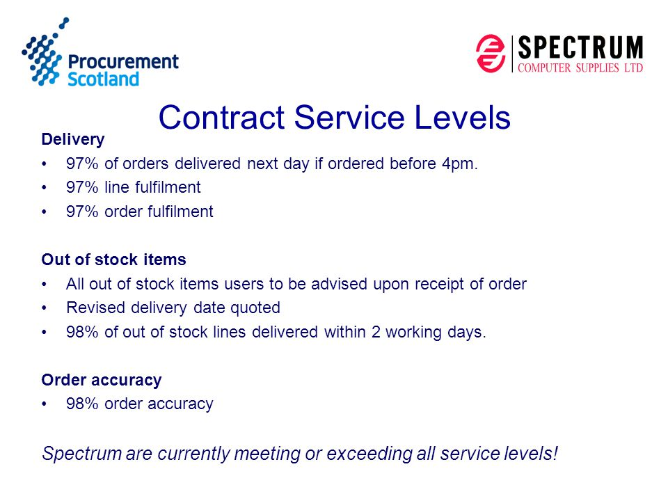 Contract Service Levels Delivery 97% of orders delivered next day if ordered before 4pm. 97% line fulfilment 97% order fulfilment Out of stock items A