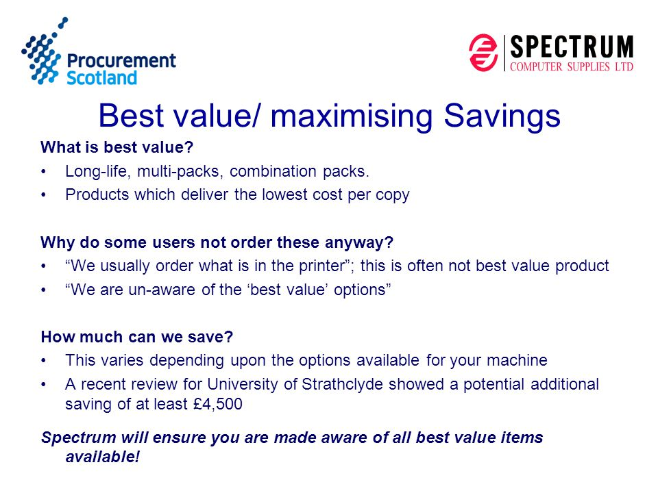 How to order On-line using SPECs Spectrums on-line ordering system via our website www.spectrumltd.co.uk (login and password).www.spectrumltd.co.uk Pecos we are able to accept CXML or email attachments Email : scotgovhe@spectrumltd.co.uk Telephone : 01274 767705 or 01274 767763 Post to Spectrum Computer Supplies Ltd, Spectrum House, East Parade, Bradford BD1 5RJ Fax: 01274 391590
