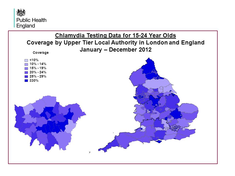 Chlamydia Testing Data for 15-24 Year Olds Coverage by Upper Tier Local Authority in London and England January – December 2012 Coverage