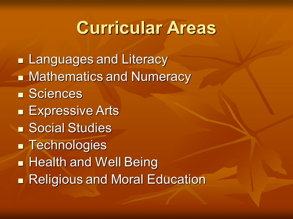 Curricular Areas Languages and Literacy Languages and Literacy Mathematics and Numeracy Mathematics and Numeracy Sciences Sciences Expressive Arts Exp