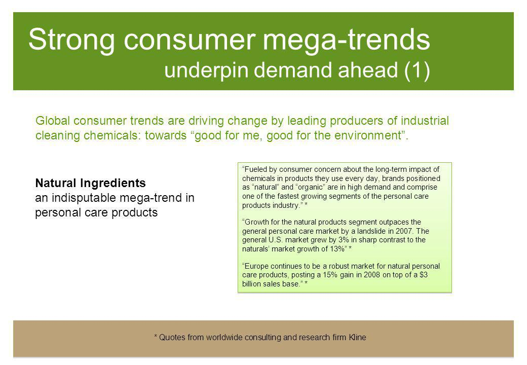"""Strong consumer mega-trends underpin demand ahead (1) Natural Ingredients an indisputable mega-trend in personal care products """"Fueled by consumer con"""