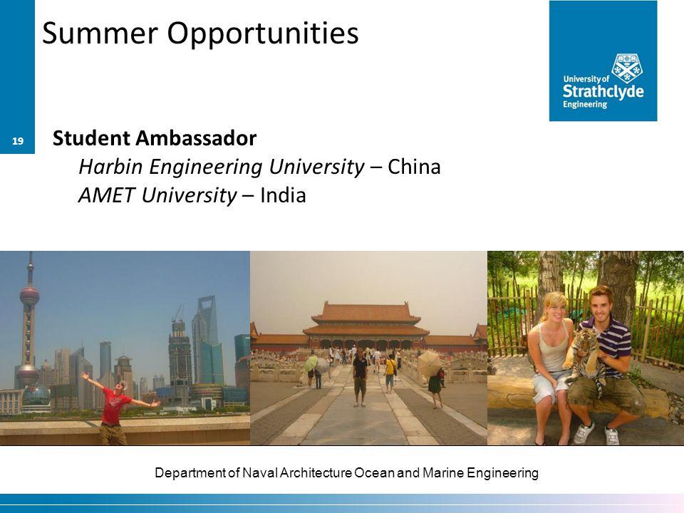 Department of Naval Architecture Ocean and Marine Engineering Summer Opportunities Student Ambassador Harbin Engineering University – China AMET University – India 19