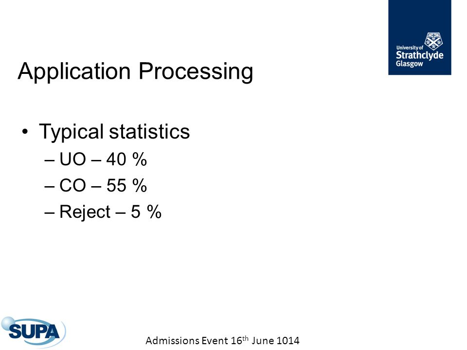Admissions Event 16 th June 1014 Typical statistics –UO – 40 % –CO – 55 % –Reject – 5 % Application Processing