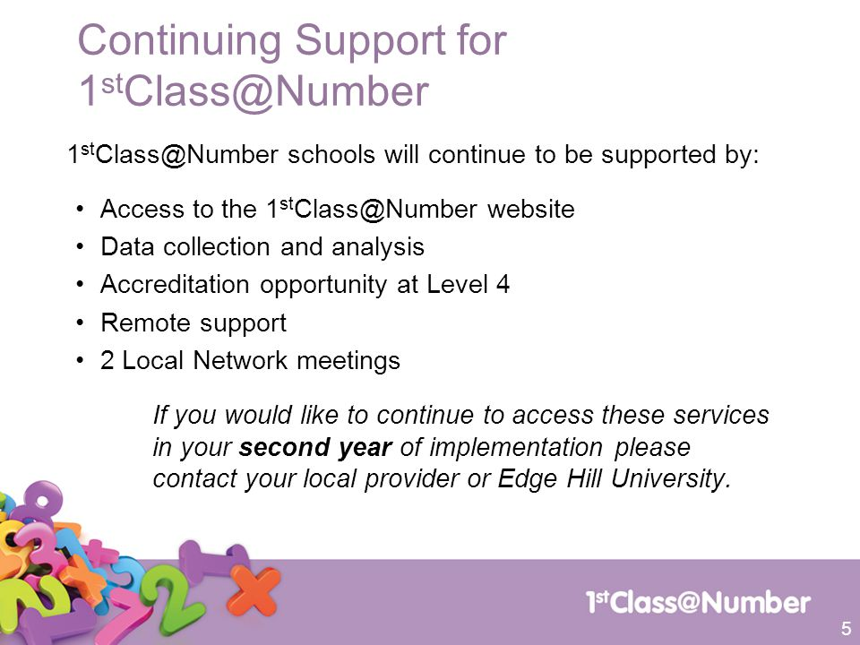 Continuing Support for 1 st Class@Number 1 st Class@Number schools will continue to be supported by: Access to the 1 st Class@Number website Data collection and analysis Accreditation opportunity at Level 4 Remote support 2 Local Network meetings If you would like to continue to access these services in your second year of implementation please contact your local provider or Edge Hill University.