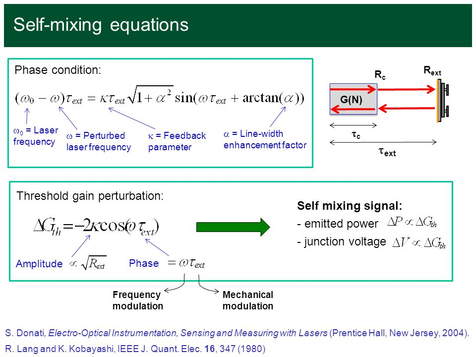 Self-mixing equations S. Donati, Electro-Optical Instrumentation, Sensing and Measuring with Lasers (Prentice Hall, New Jersey, 2004). R. Lang and K.
