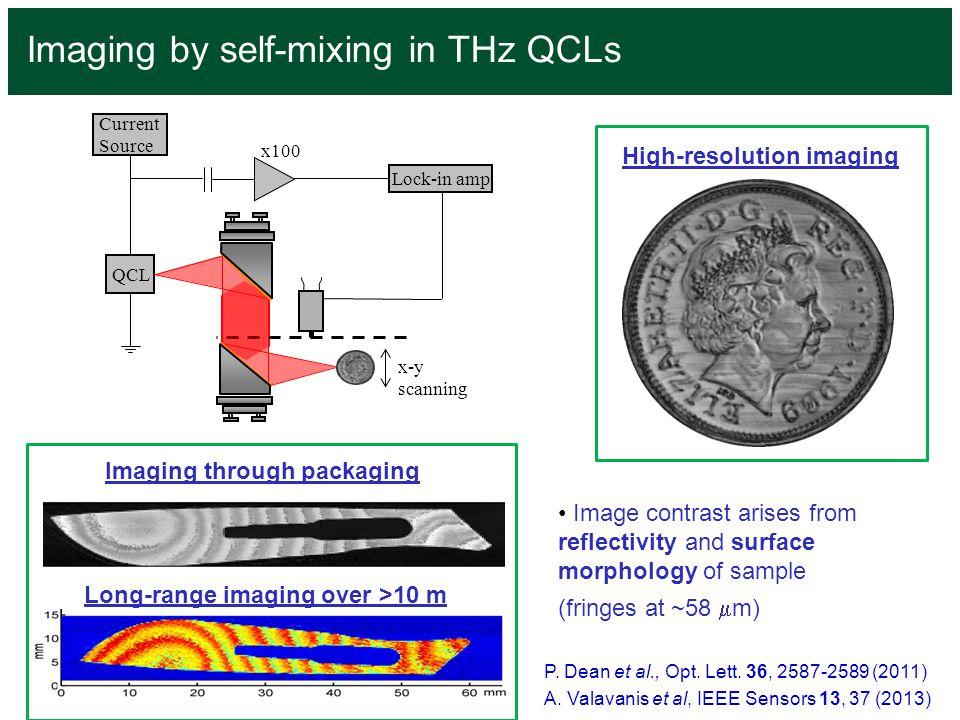 Imaging by self-mixing in THz QCLs P. Dean et al., Opt. Lett. 36, 2587-2589 (2011) A. Valavanis et al, IEEE Sensors 13, 37 (2013) QCL Current Source L