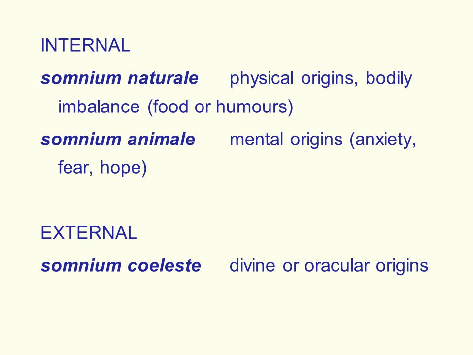INTERNAL somnium naturalephysical origins, bodily imbalance (food or humours) somnium animalemental origins (anxiety, fear, hope) EXTERNAL somnium coe