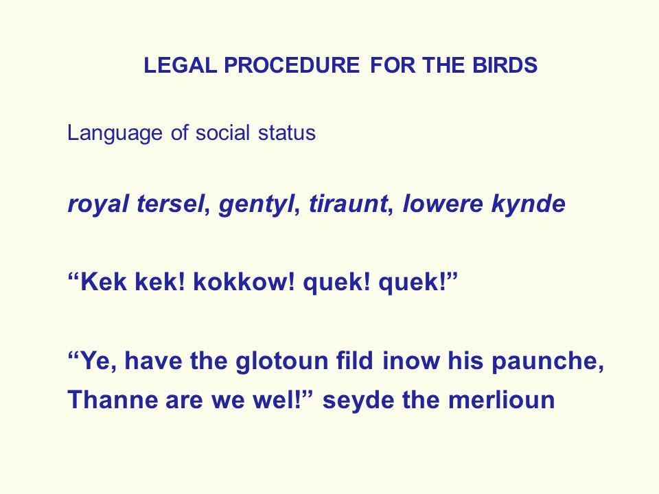 LEGAL PROCEDURE FOR THE BIRDS Language of social status royal tersel, gentyl, tiraunt, lowere kynde Kek kek.