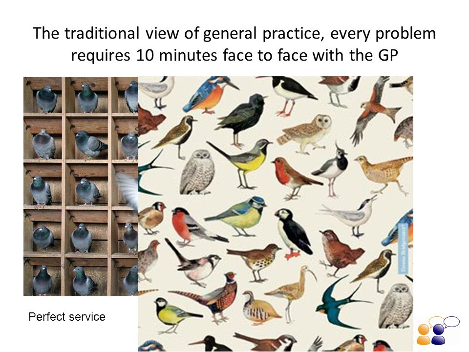 The traditional view of general practice, every problem requires 10 minutes face to face with the GP One tiny problem Perfect service