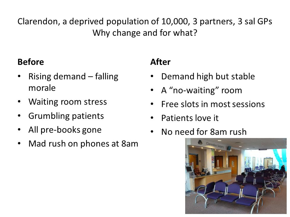 Clarendon, a deprived population of 10,000, 3 partners, 3 sal GPs Why change and for what.