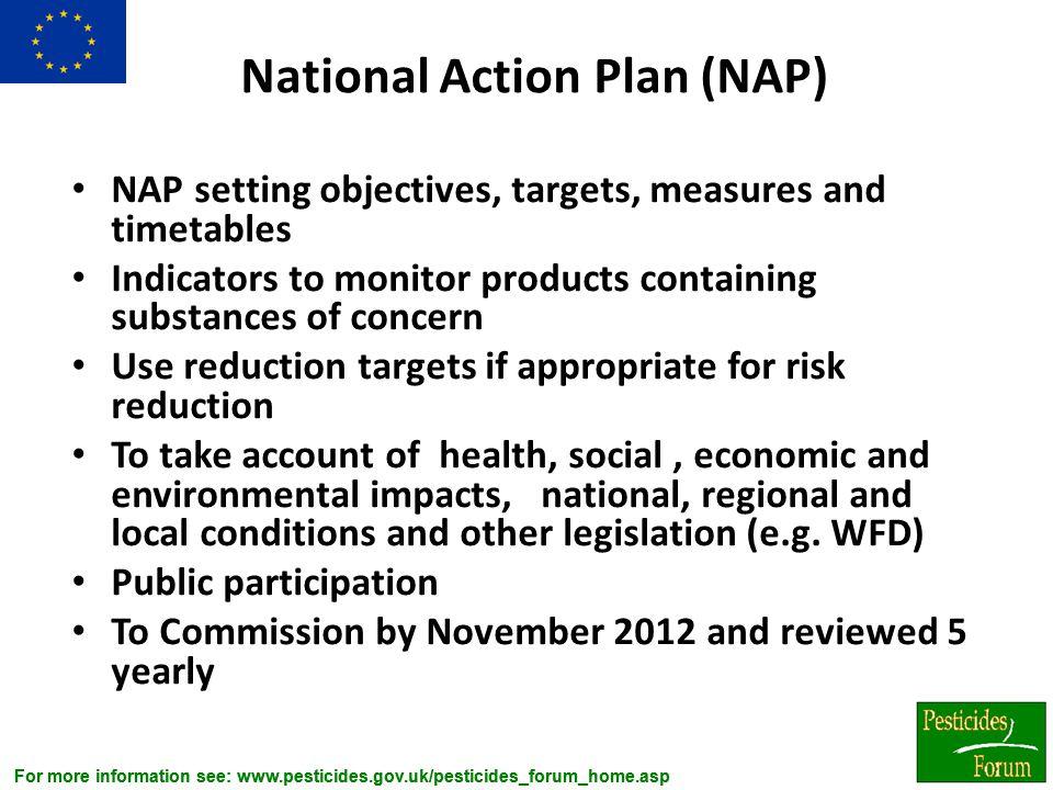For more information see: www.pesticides.gov.uk/pesticides_forum_home.asp National Action Plan (NAP) NAP setting objectives, targets, measures and tim