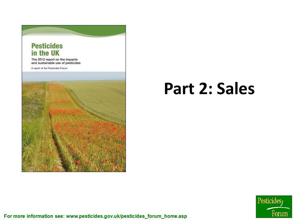 For more information see: www.pesticides.gov.uk/pesticides_forum_home.asp Part 2: Sales.