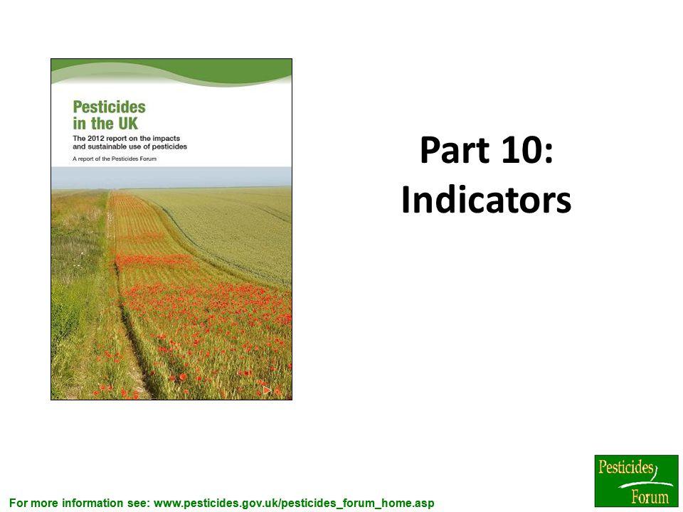 For more information see: www.pesticides.gov.uk/pesticides_forum_home.asp Part 10: Indicators 10