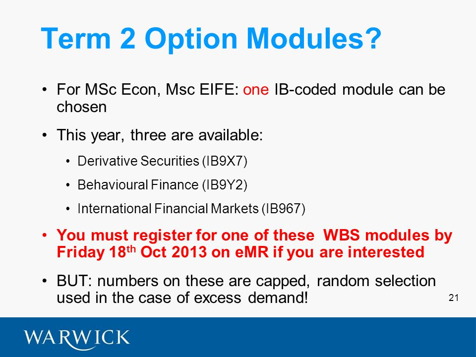 21 Term 2 Option Modules.
