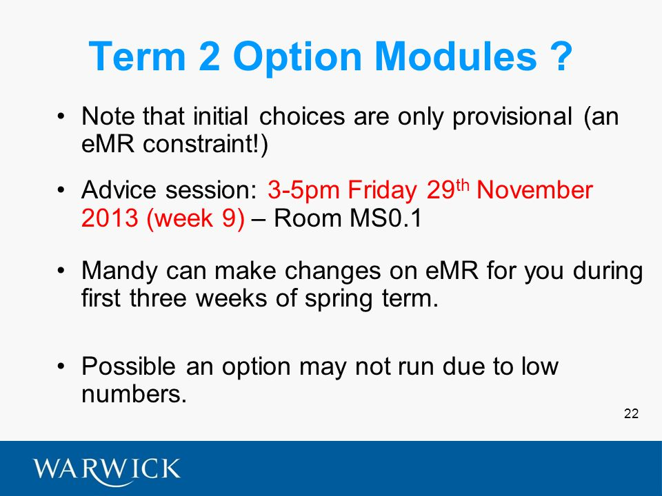 22 Term 2 Option Modules .