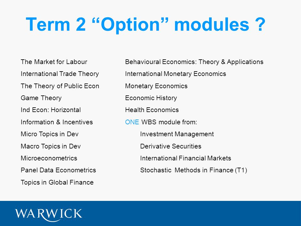 Term 2 Option modules .