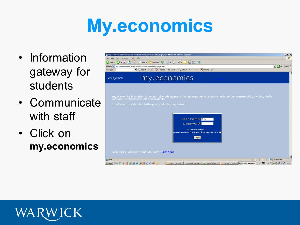 My.economics Information gateway for students Communicate with staff Click on my.economics