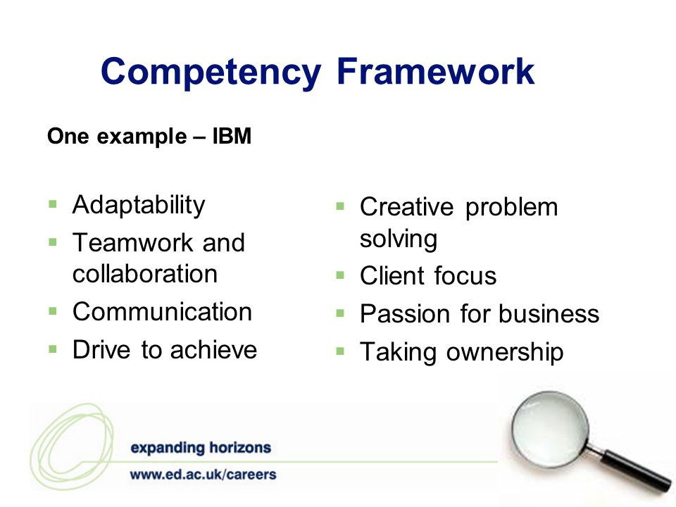 Competency Framework One example – IBM  Adaptability  Teamwork and collaboration  Communication  Drive to achieve  Creative problem solving  Client focus  Passion for business  Taking ownership