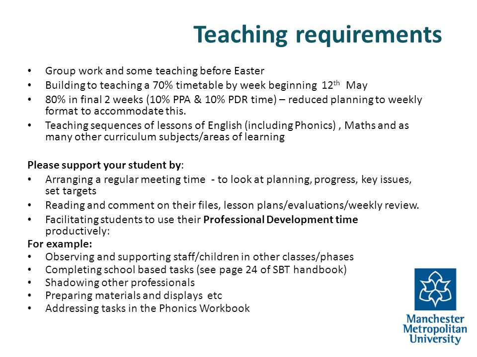 Teaching requirements Group work and some teaching before Easter Building to teaching a 70% timetable by week beginning 12 th May 80% in final 2 weeks
