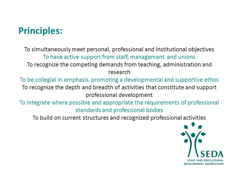 Principles: To simultaneously meet personal, professional and institutional objectives To have active support from staff, management and unions To recognize the competing demands from teaching, administration and research To be collegial in emphasis, promoting a developmental and supportive ethos To recognize the depth and breadth of activities that constitute and support professional development To integrate where possible and appropriate the requirements of professional standards and professional bodies To build on current structures and recognized professional activities 10