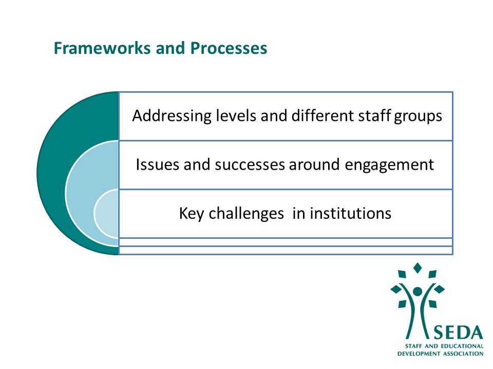 16 Addressing levels and different staff groups Issues and successes around engagement Key challenges in institutions Frameworks and Processes