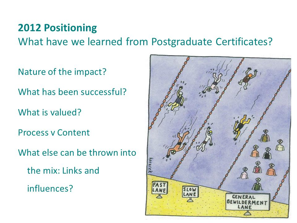 2012 Positioning What have we learned from Postgraduate Certificates.